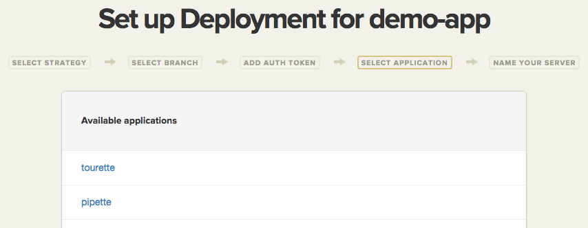 Select Heroku application