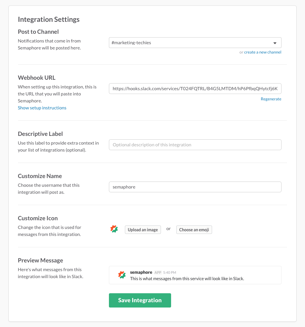 Slack integration settings for Semaphore