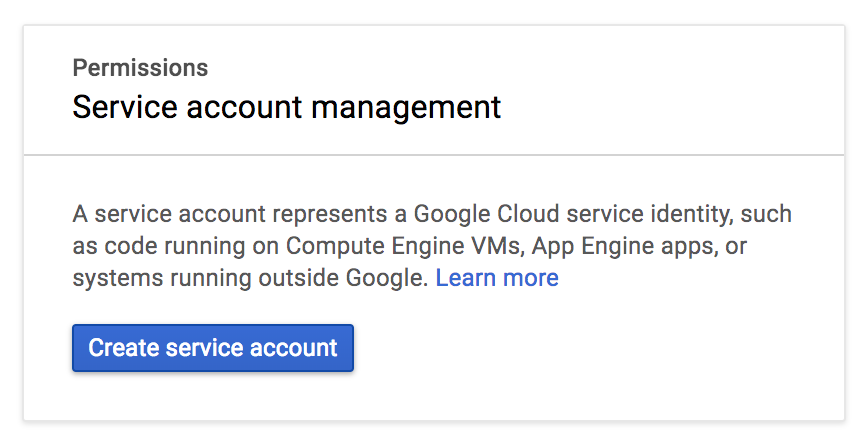 Click Create service account on Google Cloud Platform