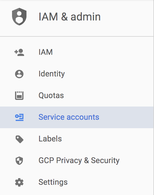 Select IAM & Admin on Google Developers Console